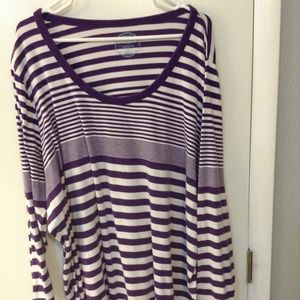 Old Navy Plus Size Purple/White Long Sleeve Top